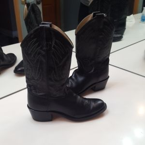 OLD WEST BLACK LEATHER WESTERN BOOT - SIZE 6